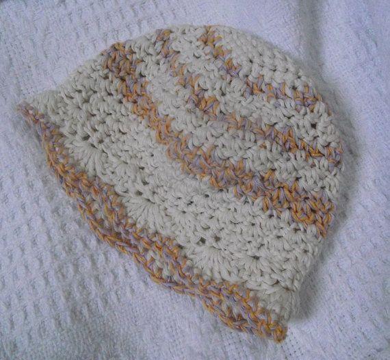 Cotton Crocheted Baby Beanie by ApplegumHandmade on Etsy