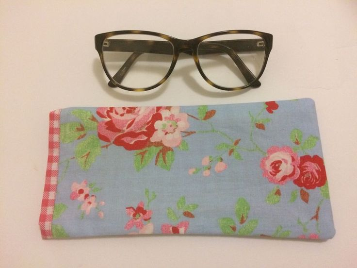 Handmade Glasses Case Pink Roses And Blue Background With Pink Gingham