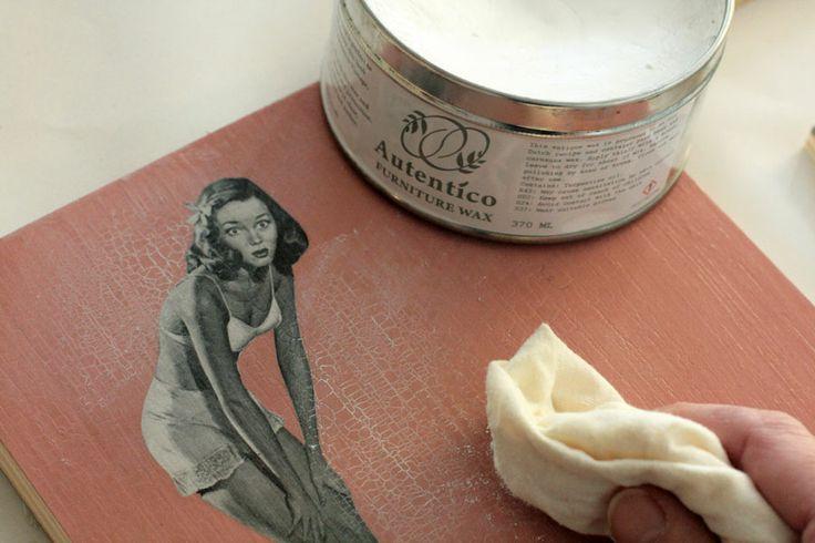 Autentico decoupage, crackle + white wax: perfect combination