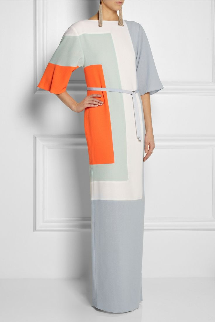 Roksanda Ilincic|Color-block wool-crepe gown|NET-A-PORTER.COM