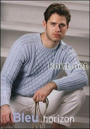 Изумительный голубой мужской пуловер в классическом стиле с узором из ромбов. Модель связана тонкими летними нитками - отличный выбор для весны и лета.