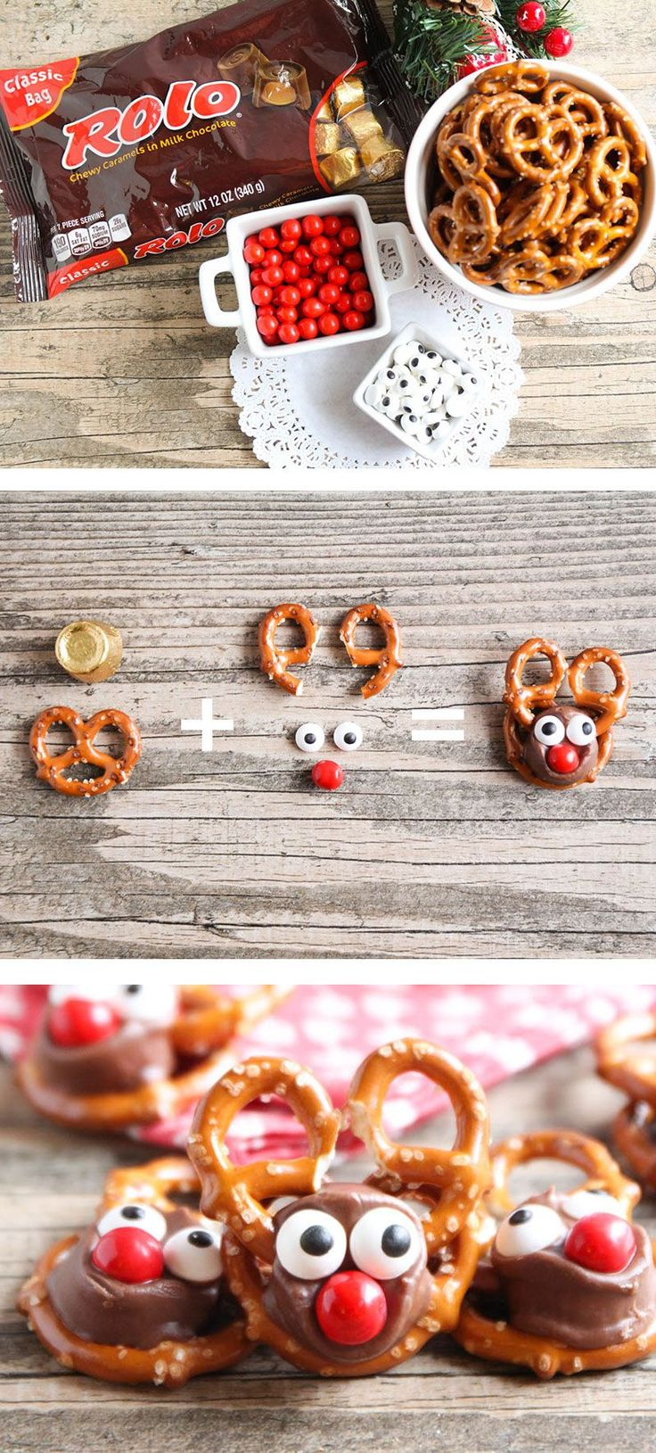 Rolo Pretzel Reindeer - these tasty treats are perfect for the holiday season and so easy to make!