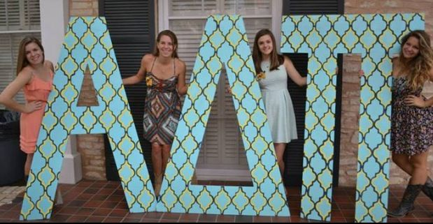 Sorority letters. Alpha delta pi decorated letters on bid day