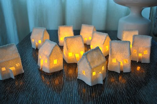 HOW TO make lit up house luminaries. Adorable. Light 'em up the safe way with LED tea light candles: http://www.flashingblinkylights.com/light-up-products/flickering-led-candles.html?utm_source=pinterest&utm_medium=flickering%20led%20candles&utm_campaign=diy%20light%20crafts