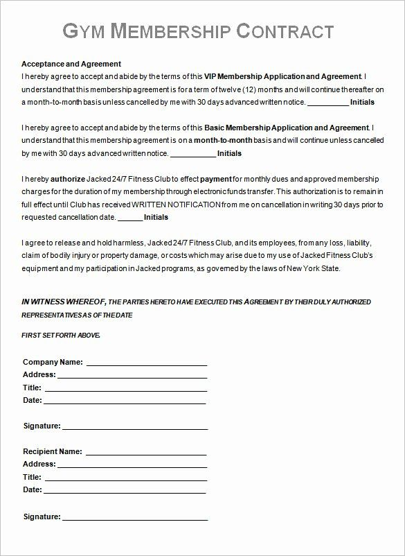 Gym Membership Contract Template Fresh Gym Contract Template 13