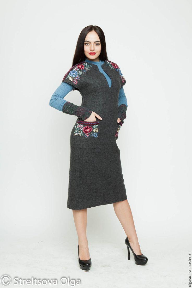 """Купить Вышитое шерстяное платье сарафан """"Магия узоров"""" ручная вышивка - серый, цветочный"""