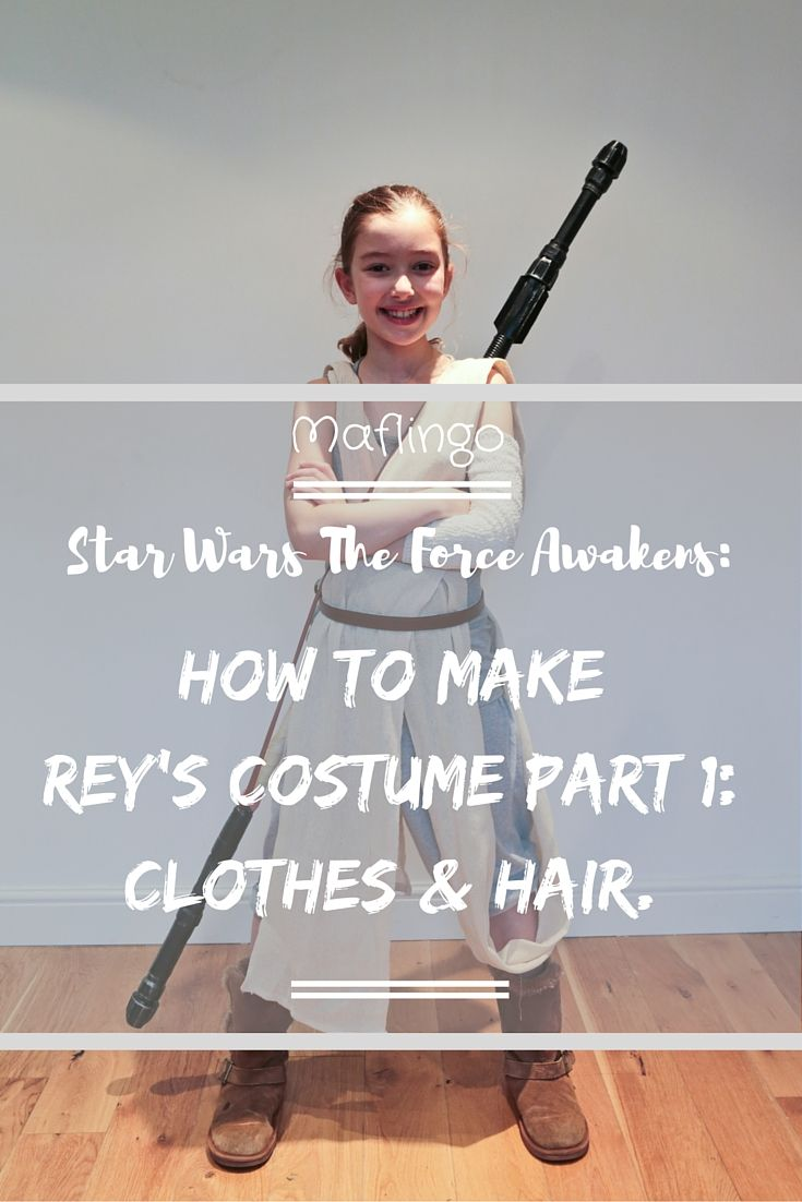 How to make a Rey Costume from Star Wars the Force Awakens Part 1. In the first part of the series I show you how to make an inexpensive Rey costume out of a dust sheet, bandages, a grey vest, grey pyjama trousers. I will also show you how you can recreate Rey's hairstyle.