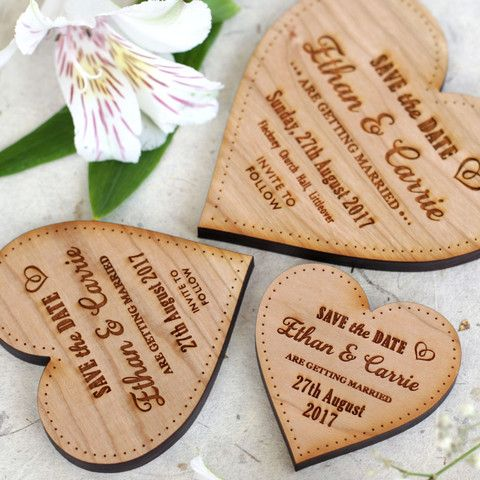 Wooden Save The Date Magnets Medium Hearts - NiVi Design - 1
