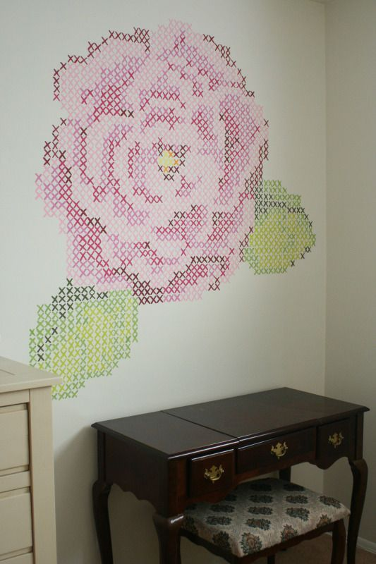 25 best ideas about cross stitch rose on pinterest for Cross stitch wall mural