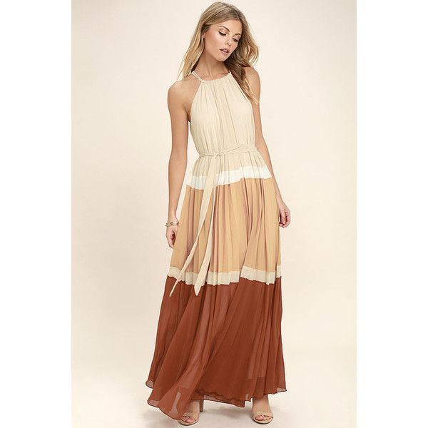 Totally Tranquil Beige Color Block Maxi Dress ($74) ❤ liked on Polyvore featuring dresses, beige, halter maxi dress, beige maxi skirt, peach maxi skirt, maxi skirts and lulu's dresses