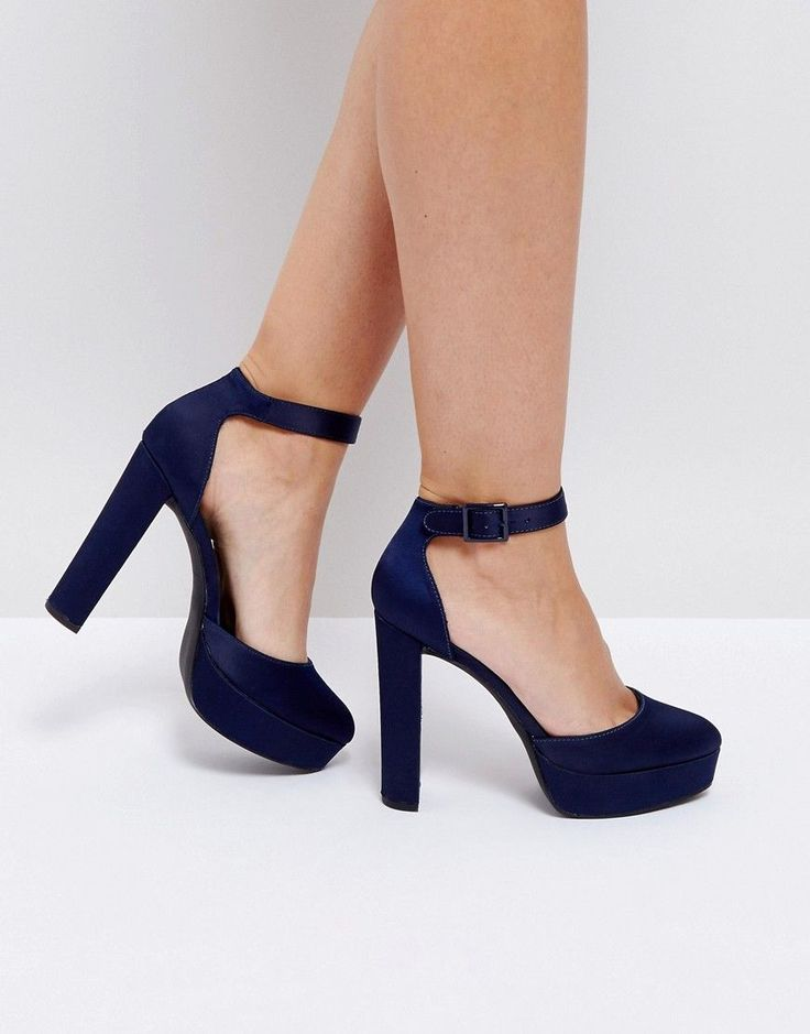New Look Satin Platform Heeled Shoes - Blue