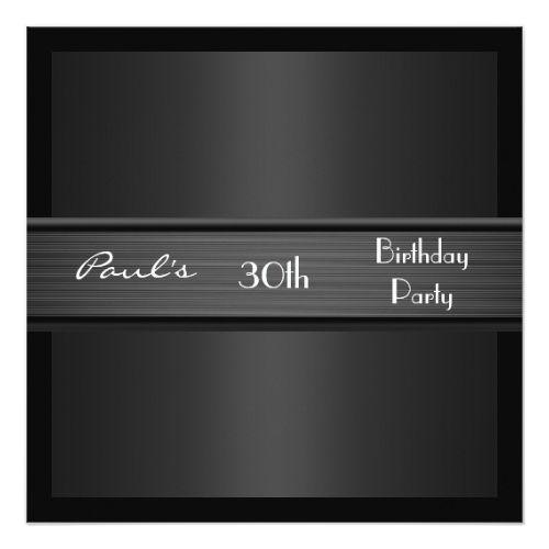 Invitation Mens 30th Birthday Party Black Elegant
