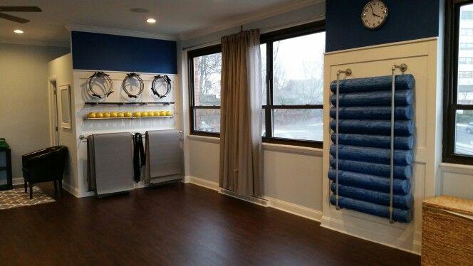 Pilates prop storage walls in my studio