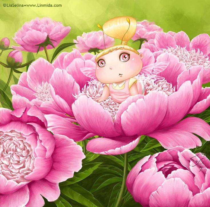 Peony Fairy-bug by LiaSelina.deviantart.com on @deviantART
