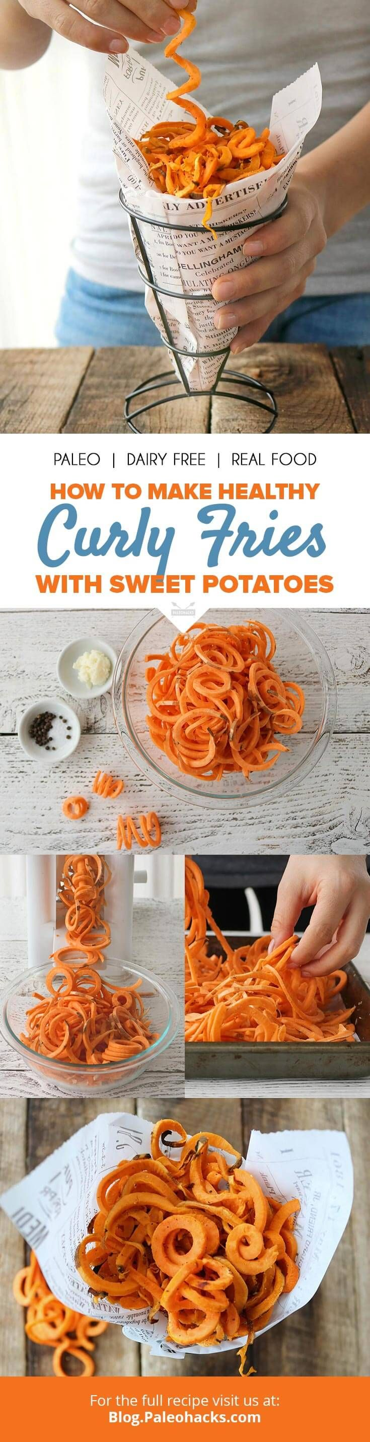 Sweet potato curly fries tossed in beef tallow make a healthy snack for both kids and grown-ups! Get the recipe here: http://paleo.co/curlyfriesrcp