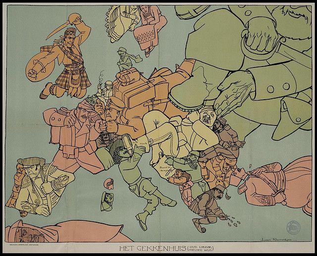"""Satirical map of WWI Europe: """"Het Gekkenhuis (Oud Liedje, Nieuwe Wijs)"""" or """"The Insane Asylum (Old Song, Newly Wise)"""" by Louis Raemaekers, Amsterdam, 1915"""
