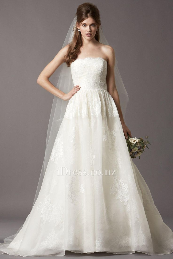 washed organza and lace strapless ball gown wedding dress from idress.co.nz