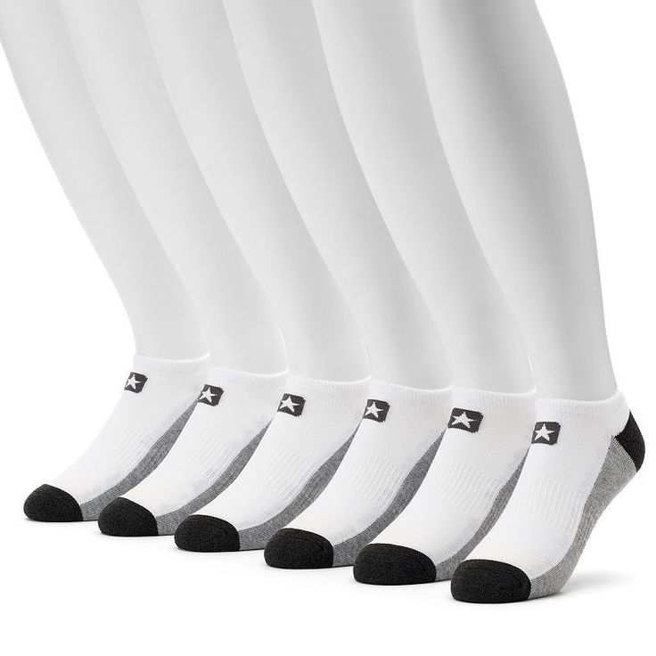 Men's Converse 6-pack Cushioned No-Show Socks, Size: 10-13, White