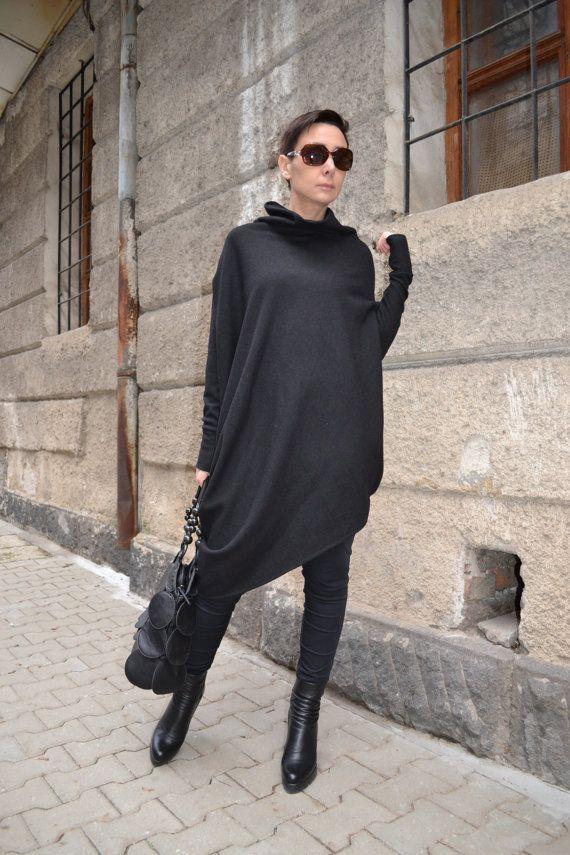 Asymmetric Tunic/Tunics for leggings/Oversize Tunic/Winter Tunic/Extravagant tunic  by CARAMEL fs - T-7515