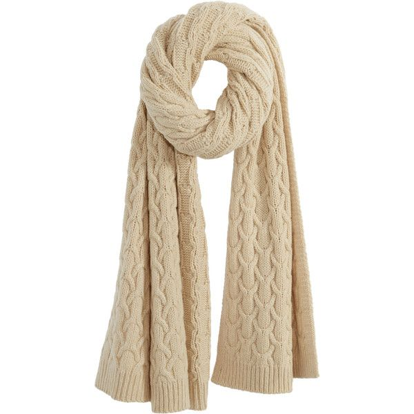 CALYPSO St. Barth Cable Knit Wool Blend Scarf ($325) ❤ liked on Polyvore featuring accessories, scarves, calypso st. barth, cable knit shawl and cable knit scarves