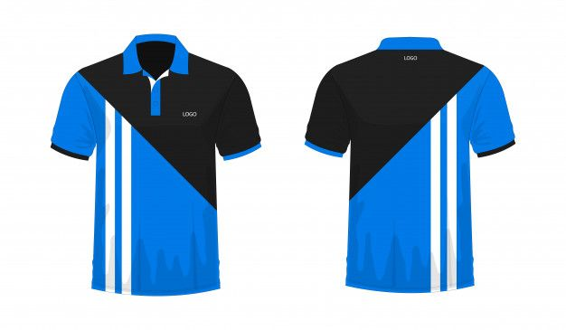 Download T Shirt Polo Blue And Black Template For Design On White Background Polo Design Mens Casual Outfits Polo Blue