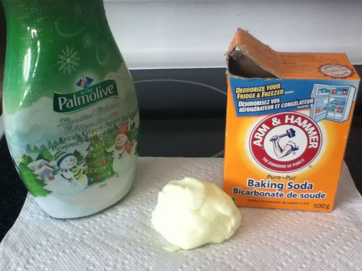 Easy homemade dough!!!!  Made with only liquid dish soap and baking soda! (You can even change the consistency, from slime to dough!)  Combinde desired amount of soap and baking soda into a bowl and then mix with a spoon. (Add more of each ingredient when desired)