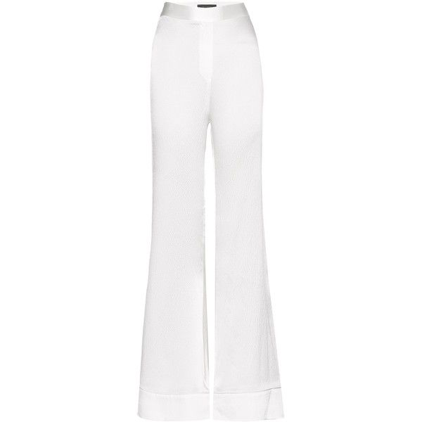 Ellery Revolver Silk Flared Trousers ($520) ❤ liked on Polyvore featuring pants, white, white trousers, e l l e r y, flared pants, white silk pants and silk trousers
