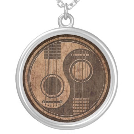 Acoustic Guitars Yin Yang with Wood Grain Effect Personalized Necklace