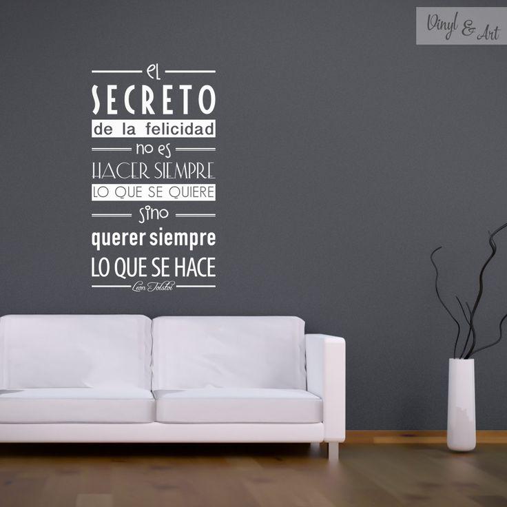 Vinilo adhesivo decorativo frases el secreto de la for Donde se venden los vinilos decorativos