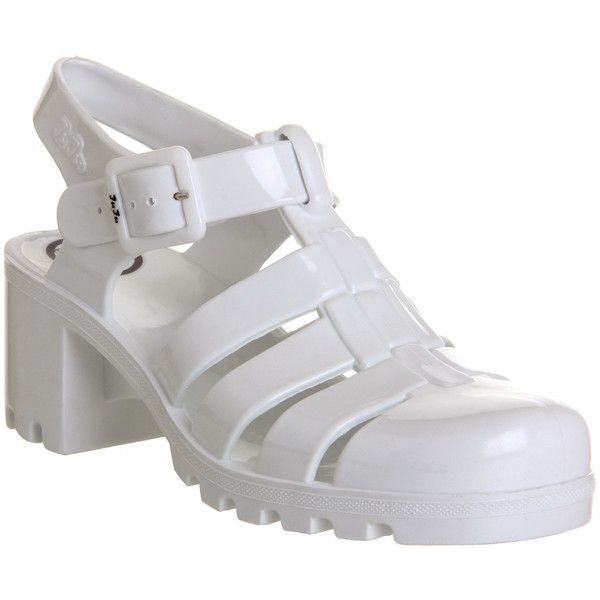 JuJu Babe Hi Jelly Shoes ($17) ❤ liked on Polyvore featuring shoes, sandals, white, women, mid heel shoes, white mid heel shoes, juju, jelly sandals and mid-heel shoes