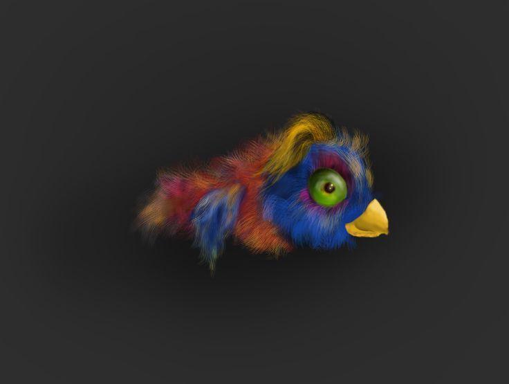 digitally painted bird for an arcade game.