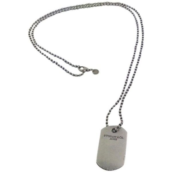 Pre-owned Tiffany & Co. Dog Tag Necklace ($160) ❤ liked on Polyvore featuring jewelry, necklaces, accessories, silver, tiffany co necklace, silver chain necklace, silver charms, silver dog tag necklace and silver jewellery