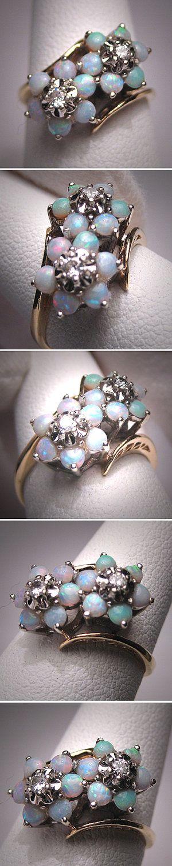 Antique Vintage Opal Diamond Ring Wedding by AawsombleiJewelry. via Etsy.