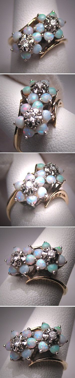 Antique Vintage Opal Diamond Ring Wedding by AawsombleiJewelry. via Etsy.