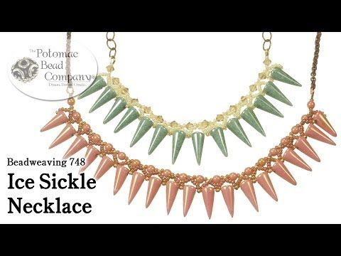 """Make an """"Ice Sickle"""" Necklace ~ Seed Bead Tutorials"""