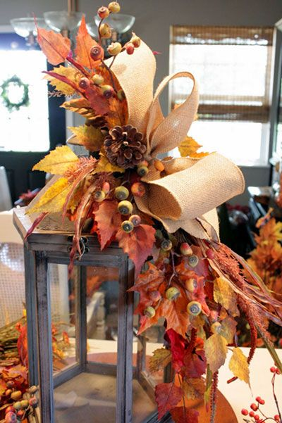 Fall Lantern :: I love the way the bow is made ...  emphasizing the width of the ribbon, and not gathering it in ...