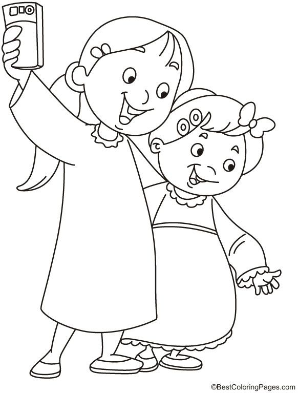 Girls Taking Selfie Coloring Page Coloring Pages Drawing For