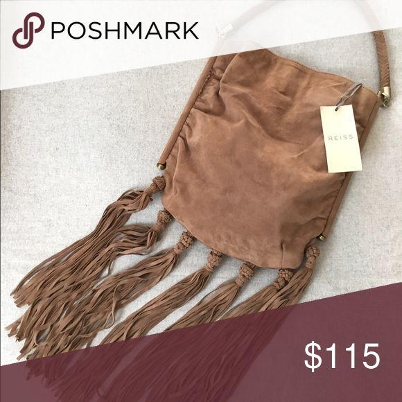 NWT Brown Leather Suede Reiss Purse with Fringe Brand new! Never used. Great purse for going out, love LOVE the fringe! 100% real Suede, very soft and versatile. ❤ Reiss Bags Shoulder Bags