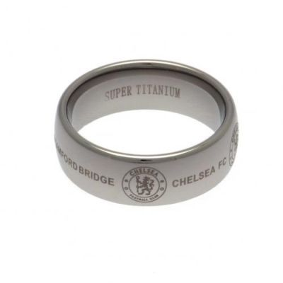 CHELSEA FC Super Titanium Ring featuring the Chelsea FC club crest. Large - Size X. Ultra Scratch Resistant. In Gift Box. Official Licensed Chelsea FC gift. FREE DELIVERY ON ALL OF OUR GIFTS