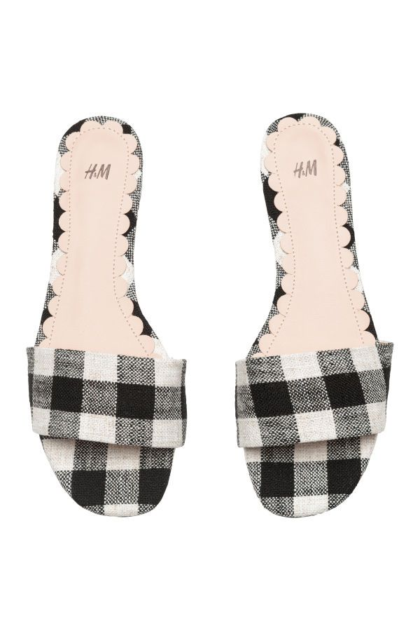 92e33b8d426 Black white checked. Mules with open toes. Satin lining