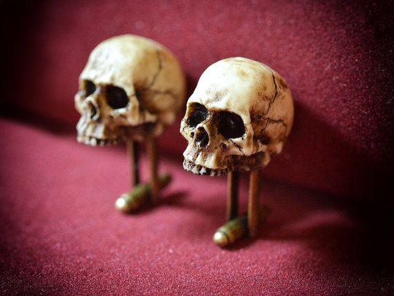 Victoriano cráneo gemelos - hecho a mano Scary resina cráneo gemelos
