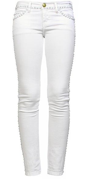 Current/ Elliott studded white skinny