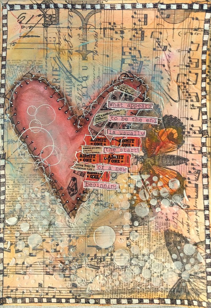 Art Journal Mixed Media: Broken Heart  Video Tutorial