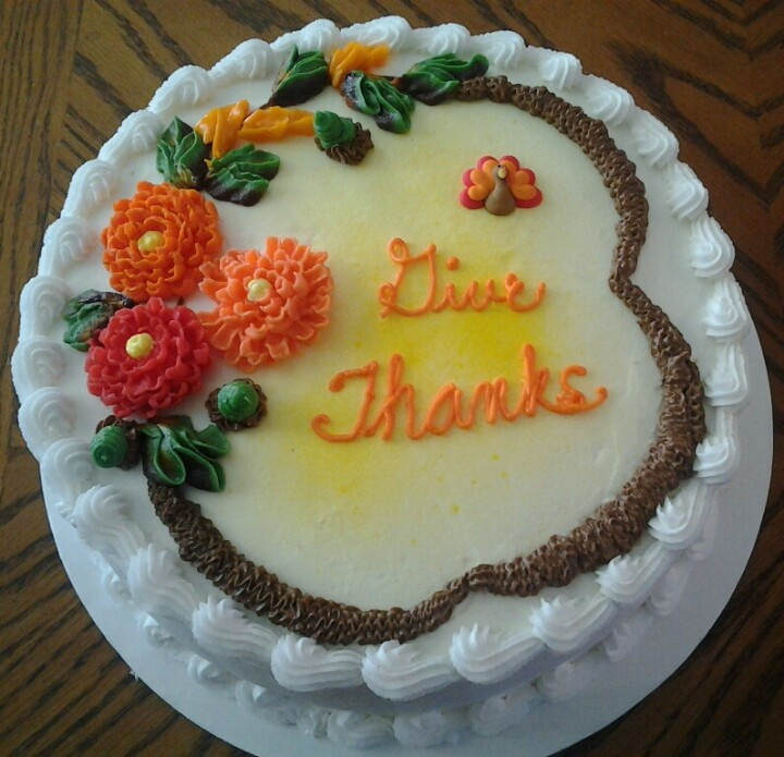 Thanksgiving cake with sugar flowers.