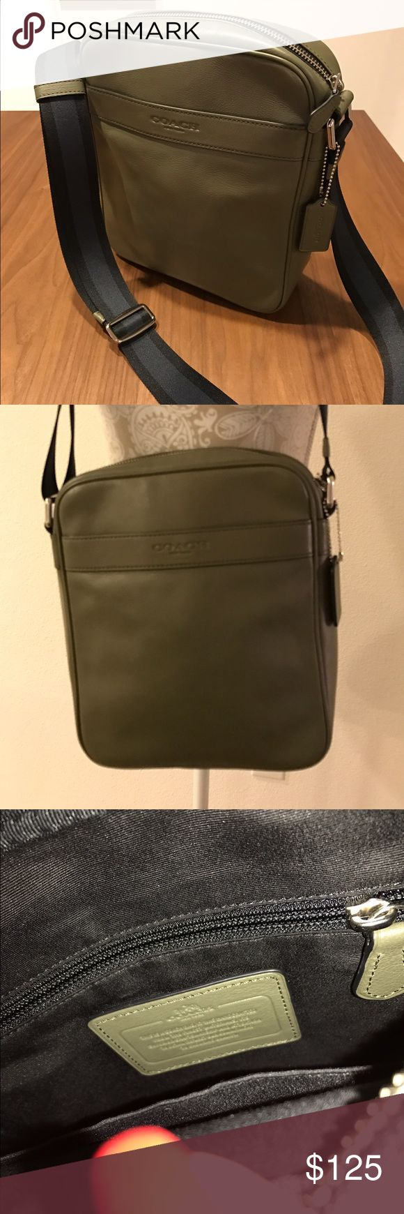 Coach Messenger Bag Very nice unisex Coach leather messenger bag in army green. Only used a few times. Excellent condition, no flaws. Coach Bags Shoulder Bags