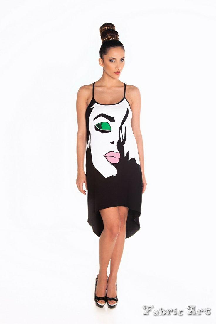 "Asymmetric strappy mini dress with handmade applique ""Face"""