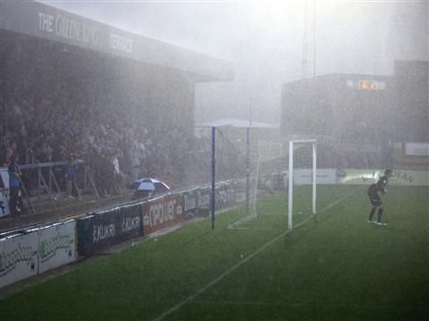 Wycombe v Bristol Rovers - abandoned. I was at this game. Lighting struck the away end stand and they called the game off with us 3-1 up. A mini riot ensued!