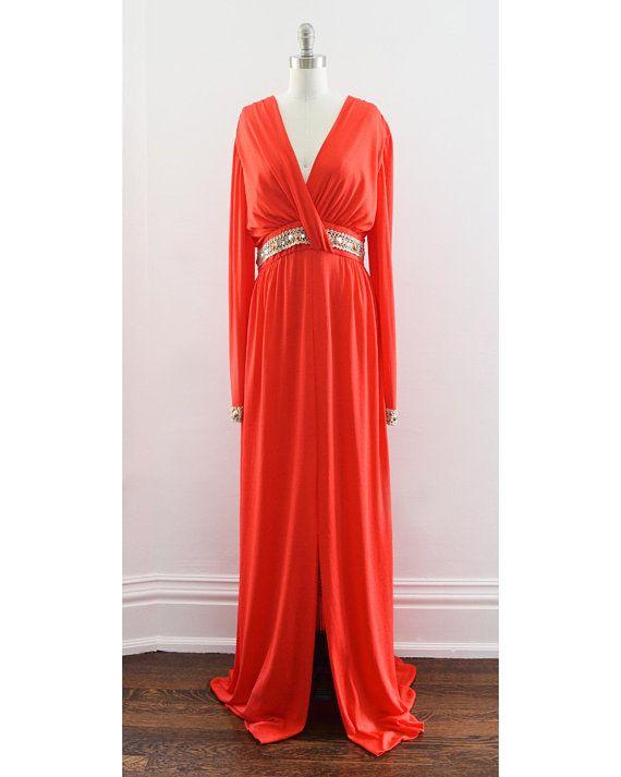 5704c722c8ba vintage 1970s maxi dress, 70s disco dress, red orange rhinestone beaded gown,  Grecian goddess dress, deep v plunging neckline, large/xl