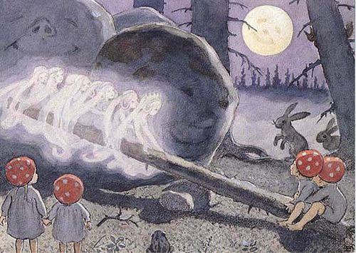 Tomtebobarnen Mushroom Children - Family  Artist: Elsa Beskow  From the book Children of the Forest