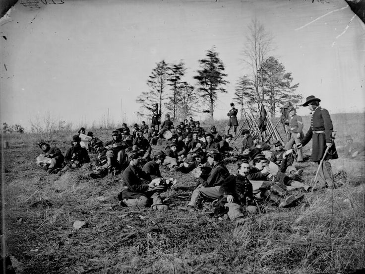 American (Union) Civil War soldiers resting after drill, playing cards, reading letters & papers - Petersburg, VA